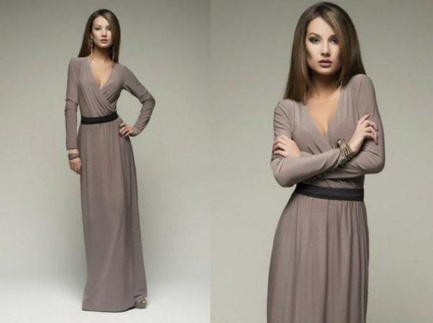 вечерние платья в пол: V- образный вырез серое рукав длинное