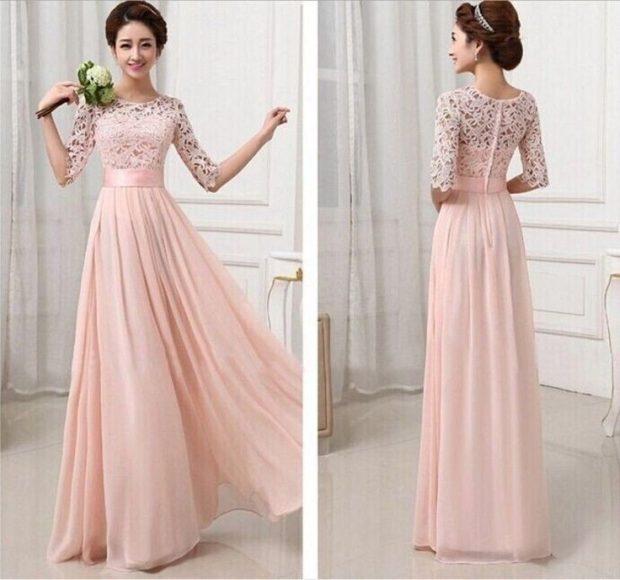 Вечерние платья в пол шифоновая юбка широкая верх гипюр
