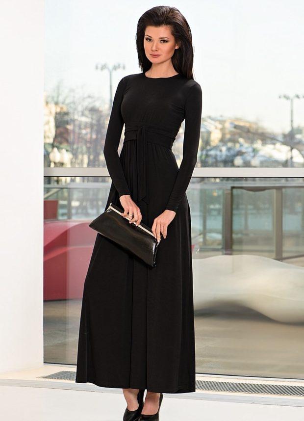вечерние платья в пол: деловой стиль черное