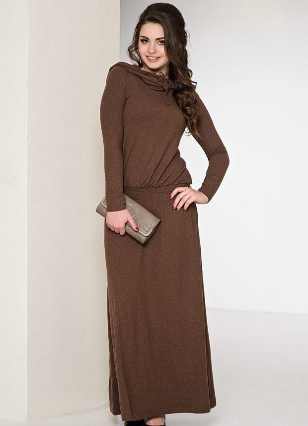 вечерние платья в пол: коричневое деловой стиль