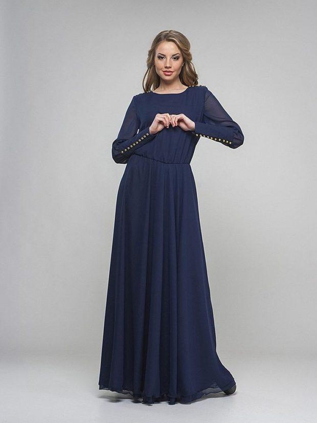 вечерние платья в пол: синее длинный рукав