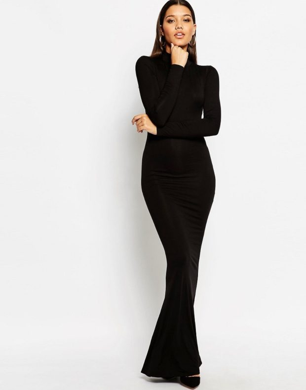 вечерние платья в пол: деловое черное