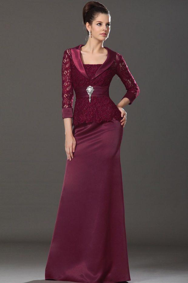 вечерние платья в пол: бордовое строгое с поясом