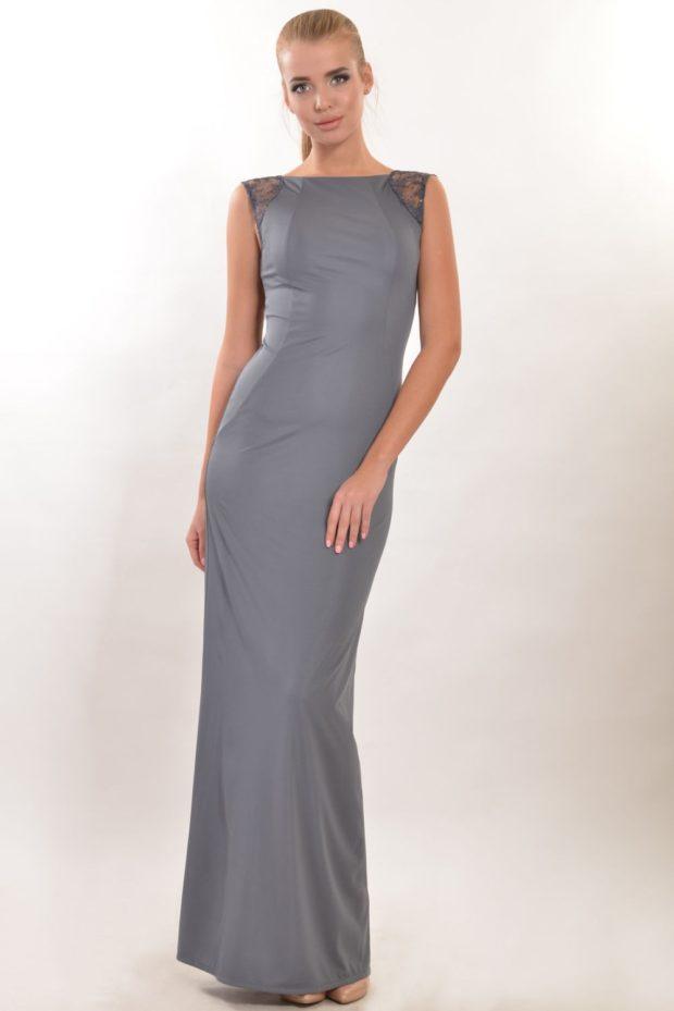вечерние платья в пол: строгое серое без рукава
