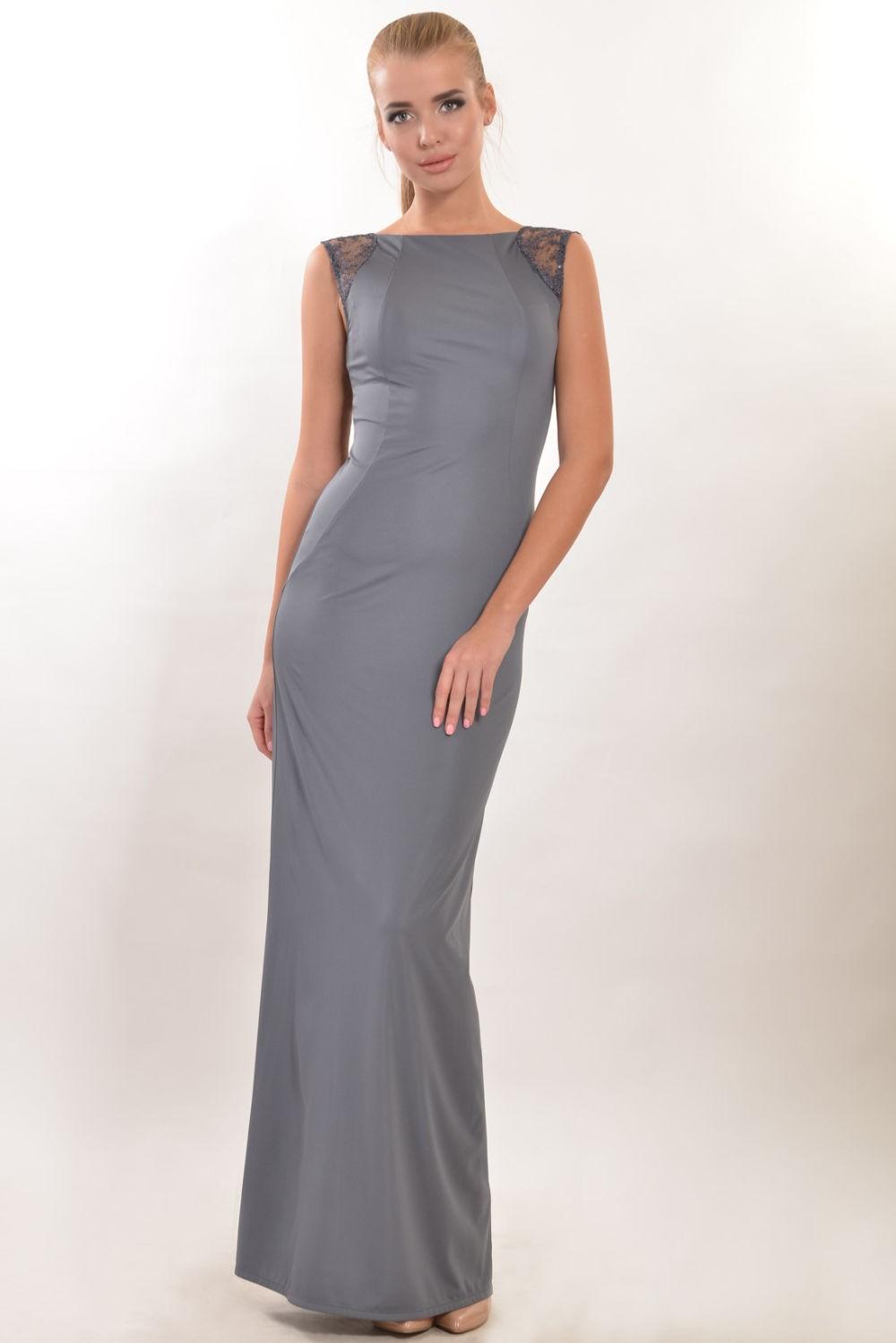 строгое платье в пол серое без рукава