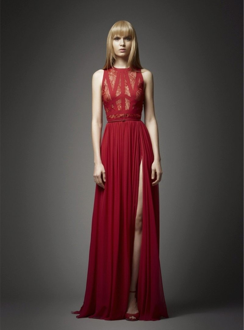 Вечерние платья в пол красное без рукава с вырезом