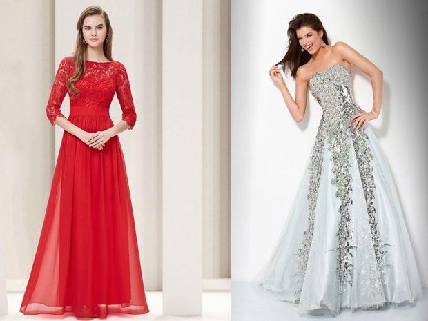 вечернее платье в пол фото: красное белое со стразами и камнями
