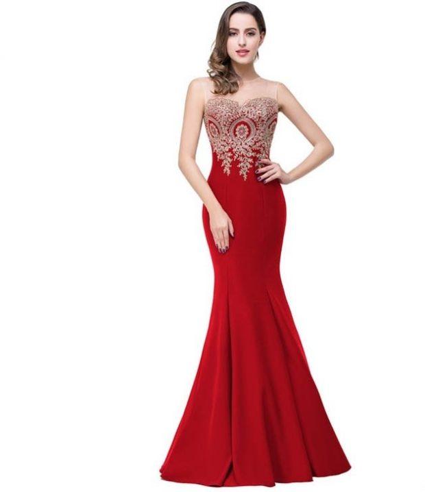 вечернее платье в пол фото: красное бюстье с камнями