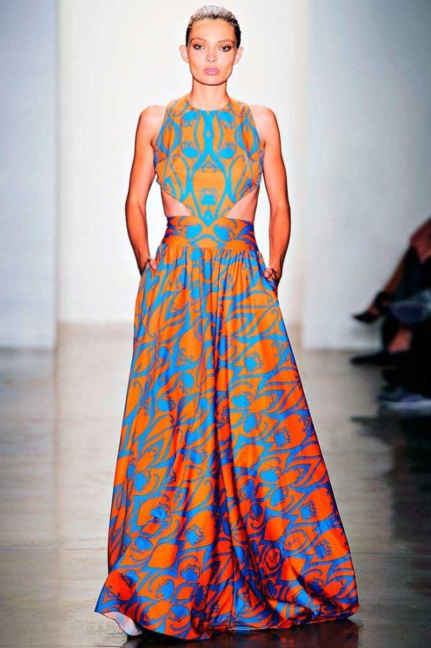 вечернее платье в пол фото: яркое с полосками и узорами
