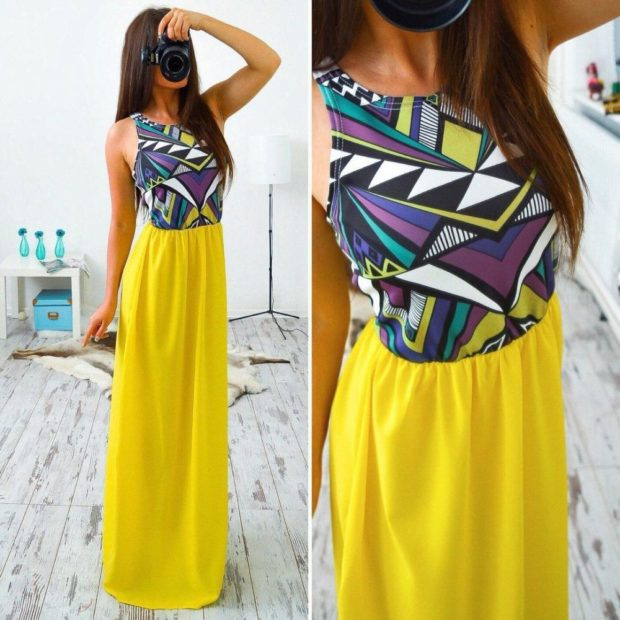 вечернее платье в пол фото: юбка однотонная верх в геометрию