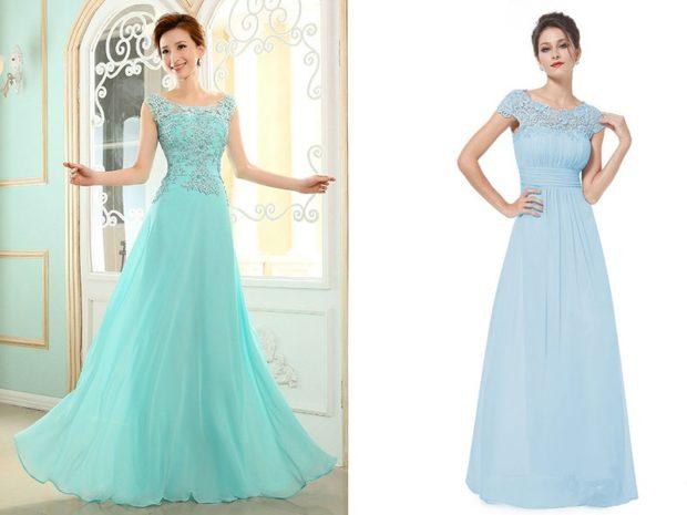 вечернее платье в пол фото: бирюзовое голубое с ажурным верхом