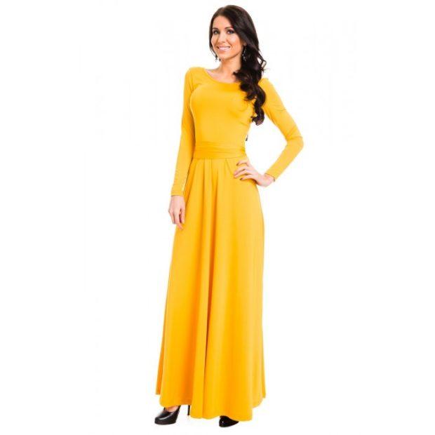 вечернее платье в пол фото: желтое рукав длинный
