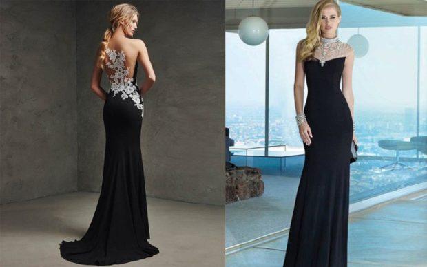 платье вечернее в пол черное с серебристыми вставками