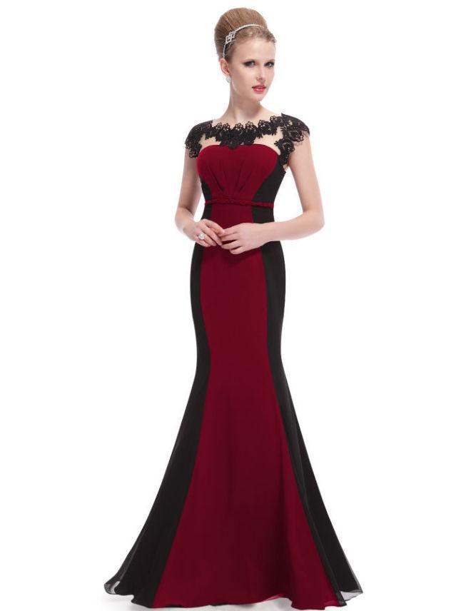Вечерние платья в пол -рыба черно с красным