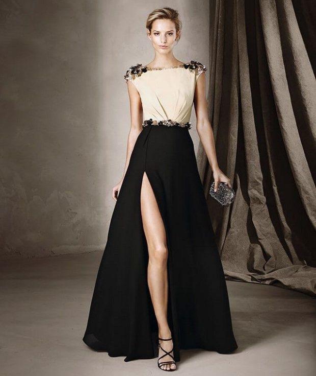 платье вечернее в пол черная юбка с вырезом верх белый
