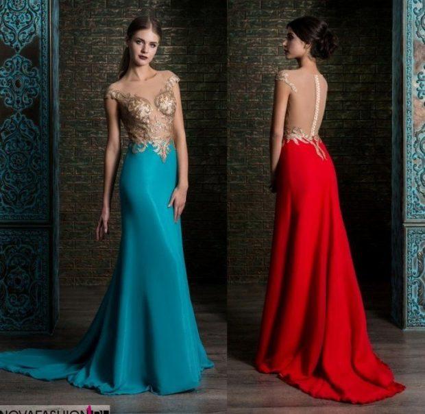 платье вечернее в пол синее красное верх золотой спина открыта
