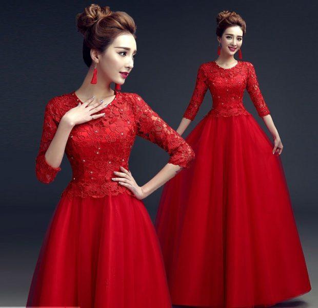 платье вечернее в пол красное юбка пышная
