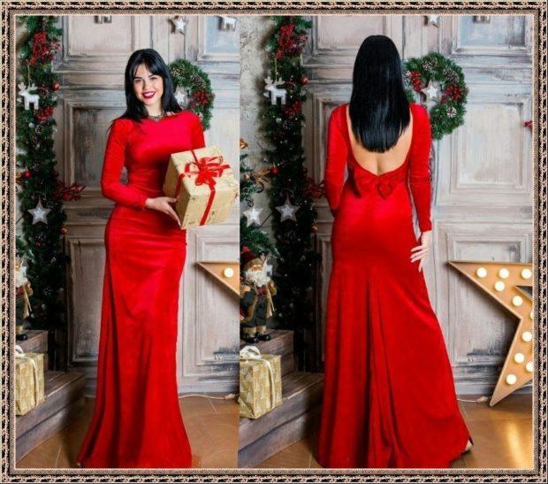 платье вечернее в пол красное спина открытая