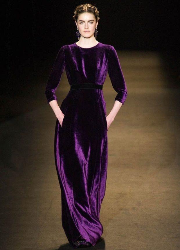 платье вечернее в пол фиолетовое бархатное