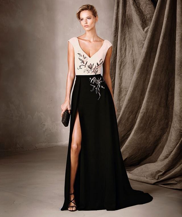 платье вечернее в пол черная юбка с разрезом верх беж