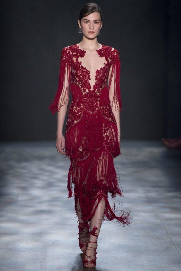 платье вечернее в пол бордовое ажурное