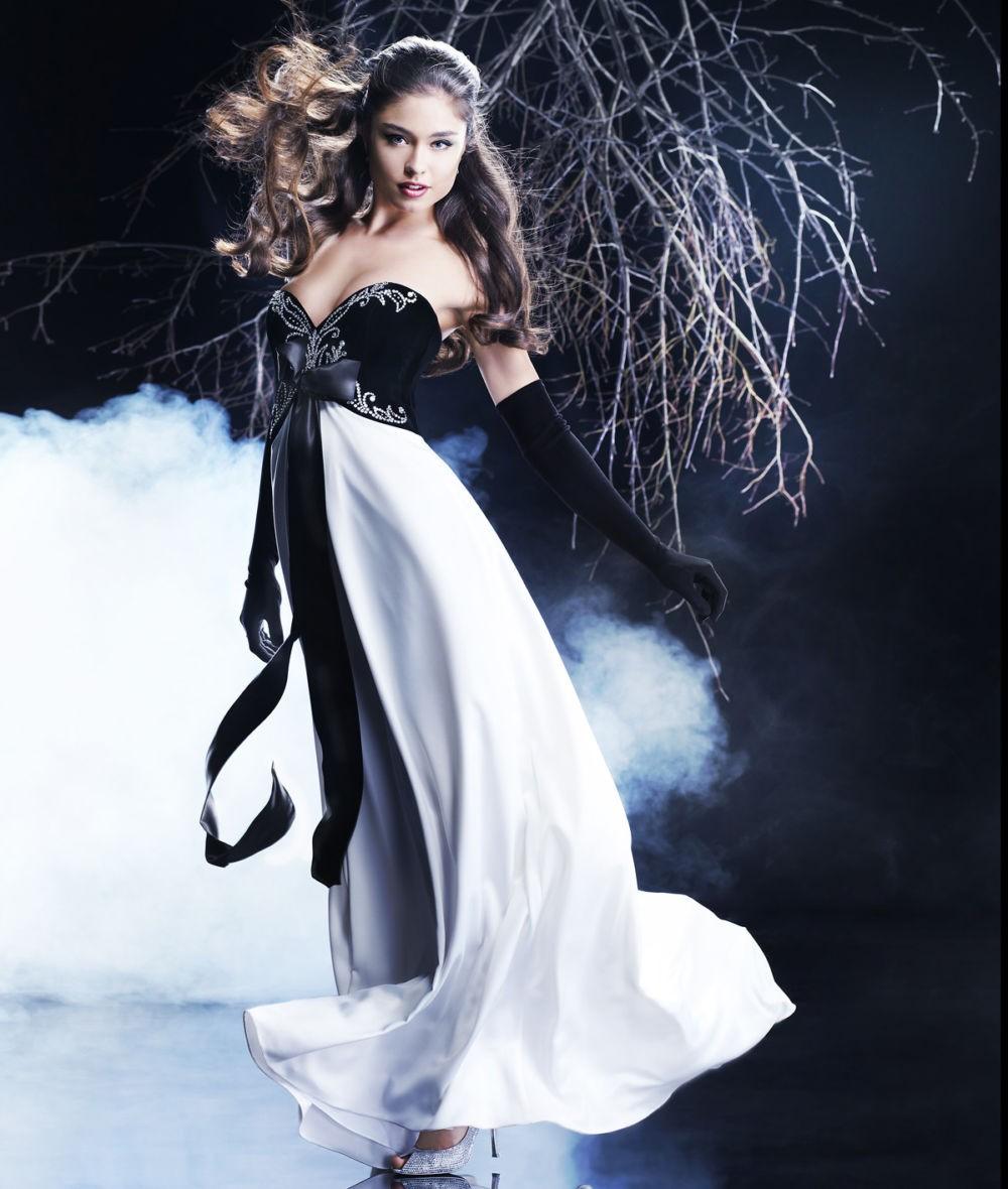 платье вечернее в пол бюстье черный верх белый низ