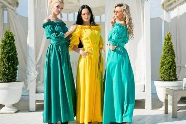 платье вечернее в пол зеленое желтое бирюзовое плечи открытые