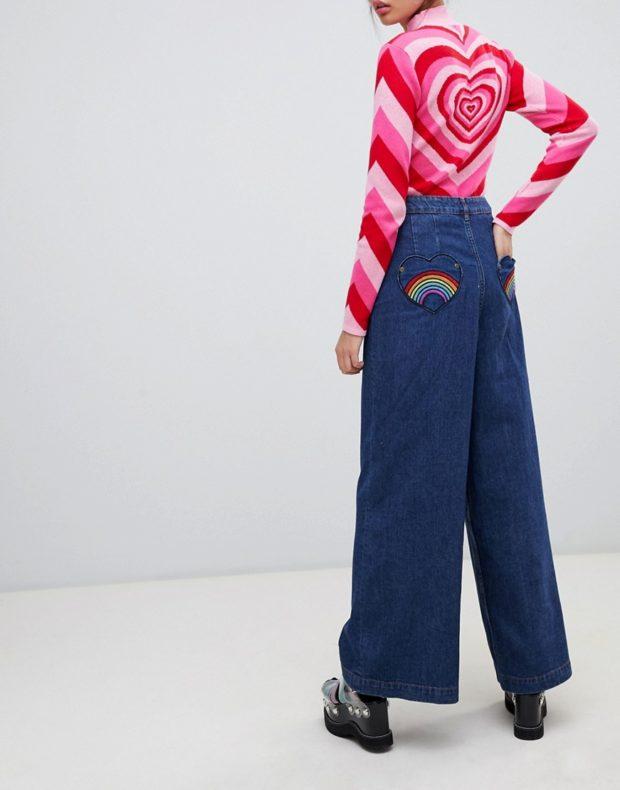 синие широкие карманы сердечки