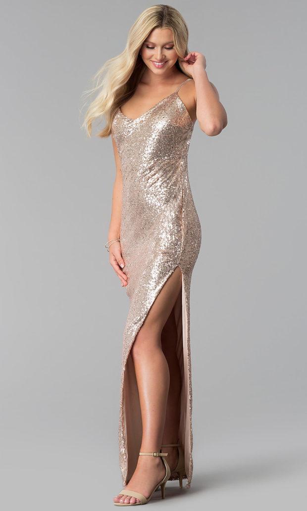вечерние платья в пол: блестящее