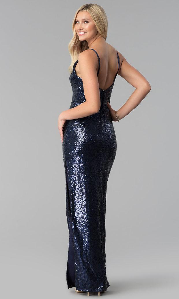 вечерние платья в пол: синее блестящее