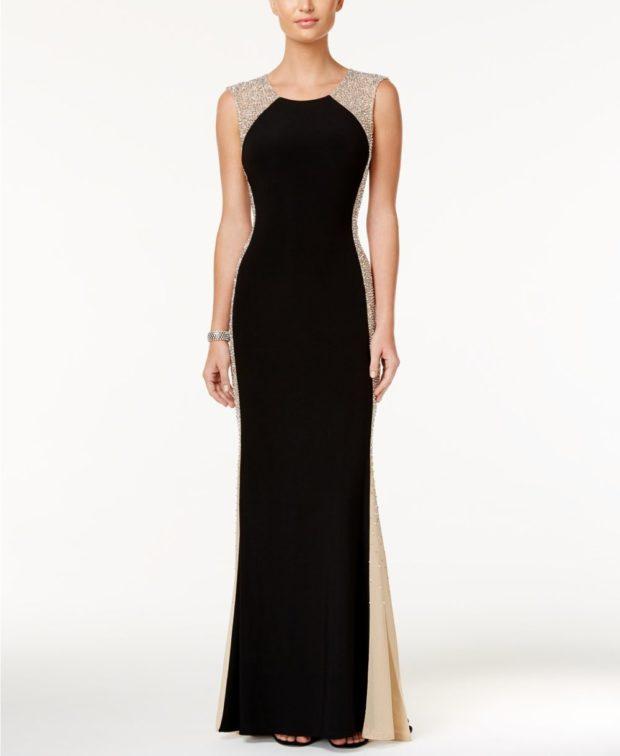 черное вечернее платье в пол 2018-2019