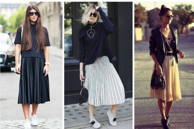 юбка плиссе с чем носить: черная белая бежевая весна-лето