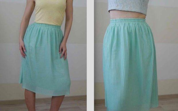 юбка плиссе с чем носить: бирюзовая миди