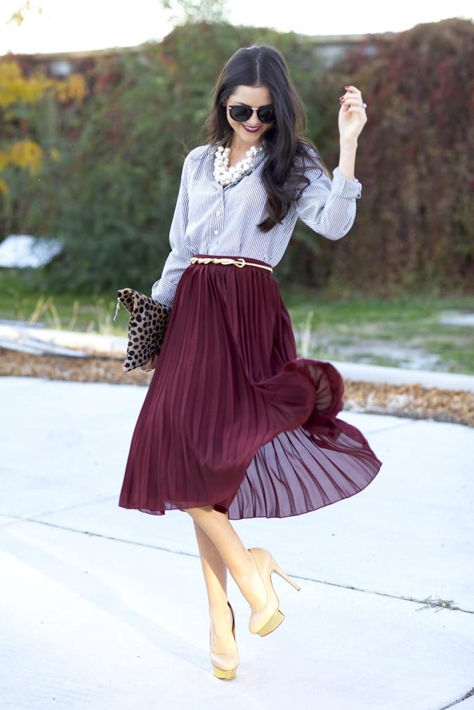 C чем носить юбку плиссе: шифон