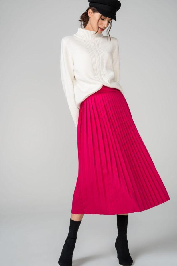 юбка плиссированная миди розовая