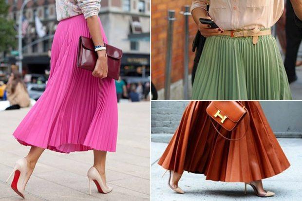 юбка плиссе с чем носить: розовая зеленая коричневая миди