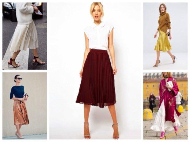 C чем носить юбку плиссе: белая красная золотое оранжевая белая