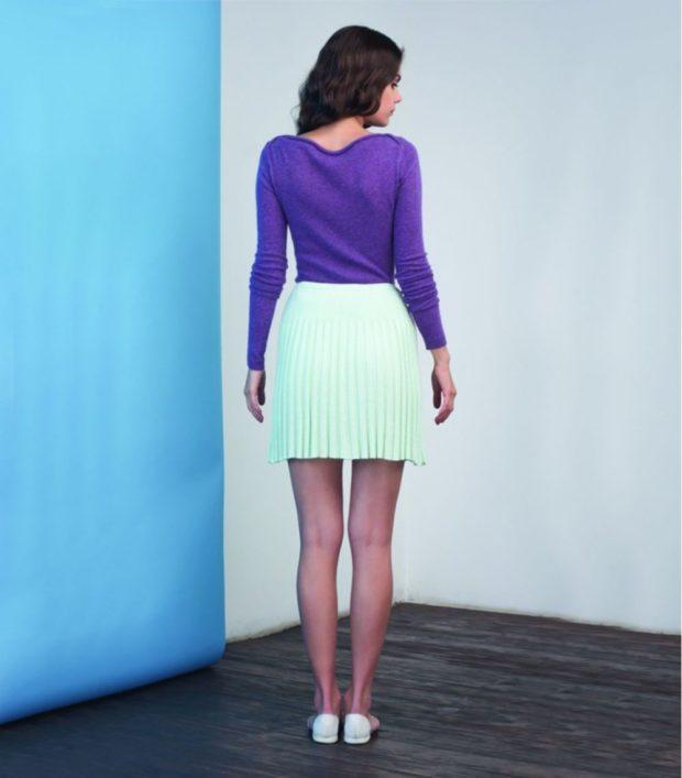 C чем носить юбку плиссе: короткая