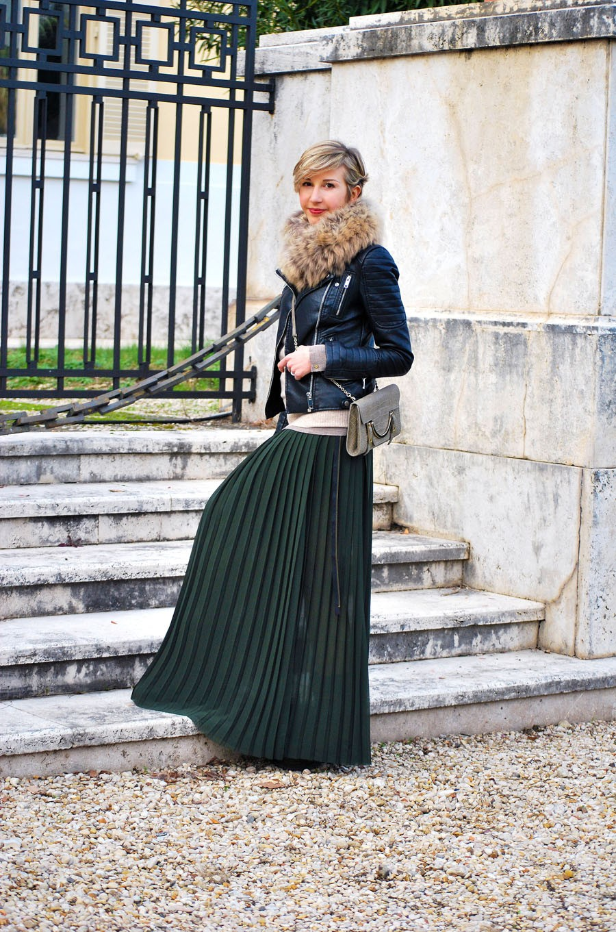 юбка плиссе темно-зеленая макси