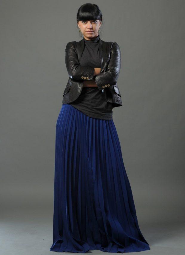 юбка плиссе темно-синяя макси