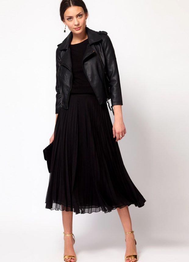 юбка плиссе с чем носить: черная шифоновая