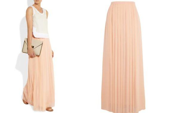 юбка плиссе длинная персиковая под топ