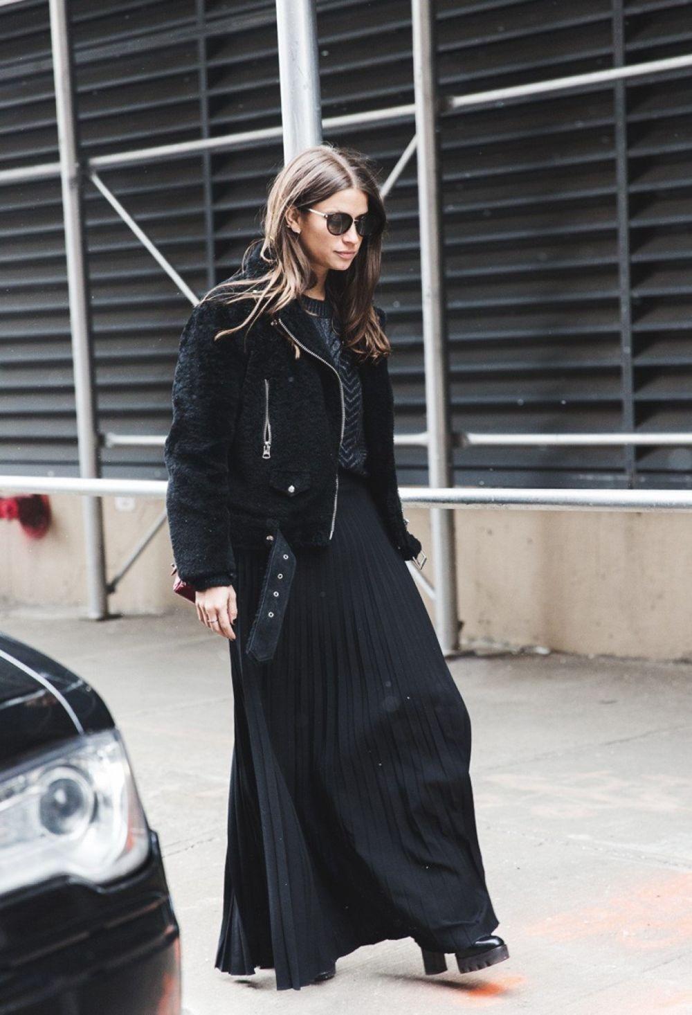юбка плиссе длинная черная под куртку оверсайз