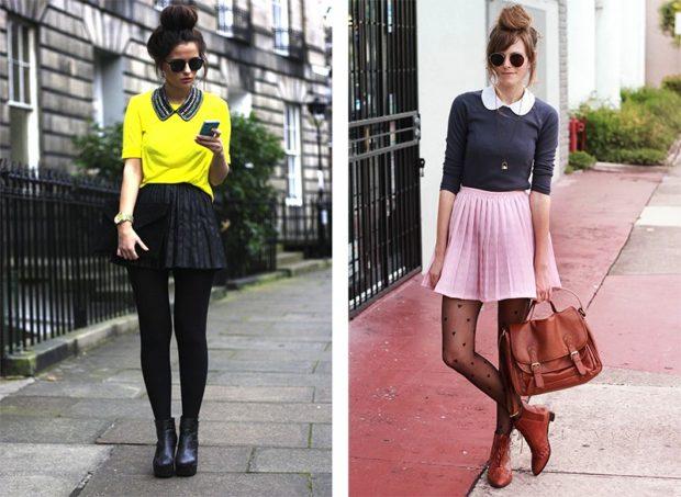 юбки плиссе мини черная под кофту розовая под кофточку