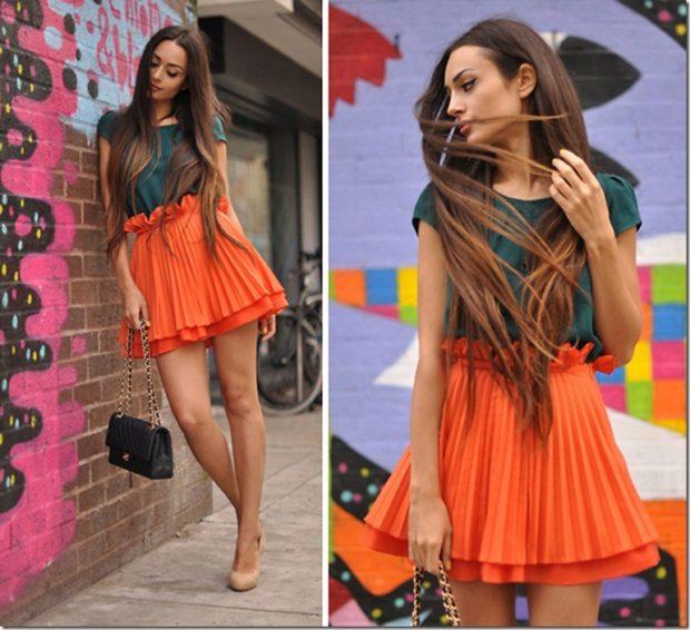 юбка плиссе мини оранжевая под футболку
