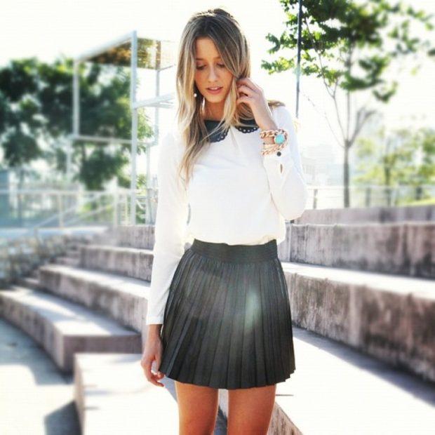 короткая юбка плиссе черная под рубашку