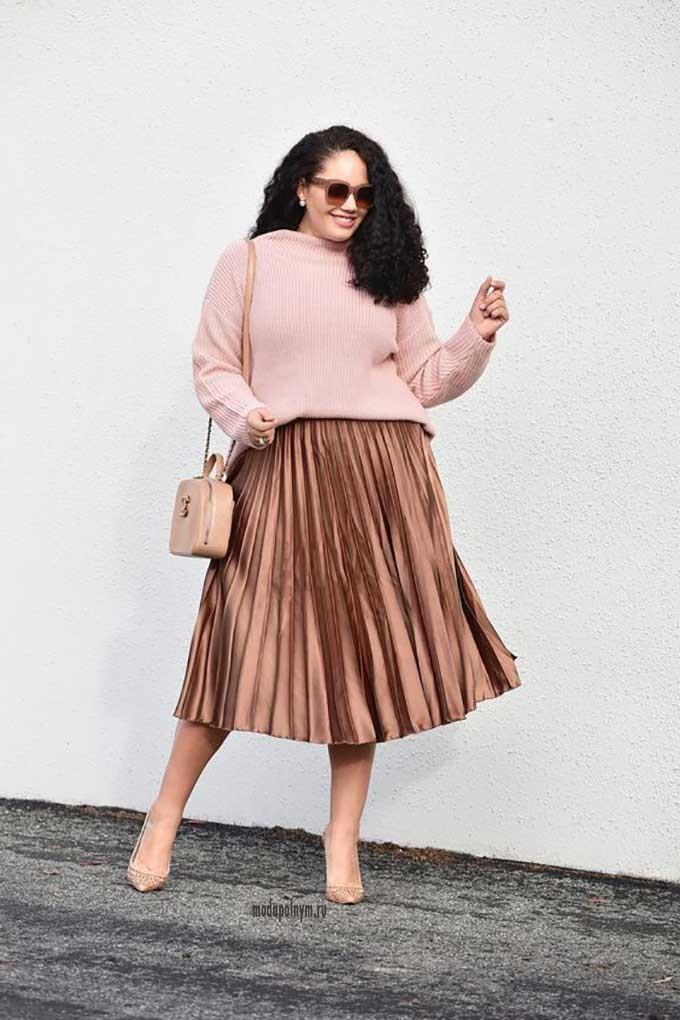 юбка плиссе медная под кофту розовую
