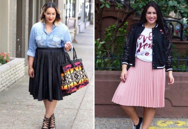 C чем носить юбку плиссе: черная миди под рубашку розовая