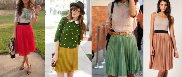 C чем носить юбку плиссе: из шифона красная под кофту горчичная под свитер зеленая