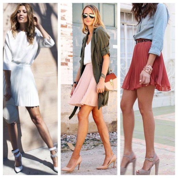 C чем носить юбку плиссе: короткие из шифона белая под блузу персиковая